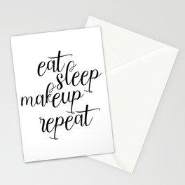 Eat Sleep Makeup Repeat, Makeup Decor, Makeup Art, Bathroom Art Print, Apartment Decor Stationery Cards