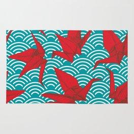 Origami red paper cranes sketch. burgundy maroon line Nature oriental Rug