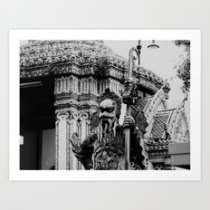 The Stone Guardians of Wat Pho, Bangkok, Thailand. B/W. Art Print
