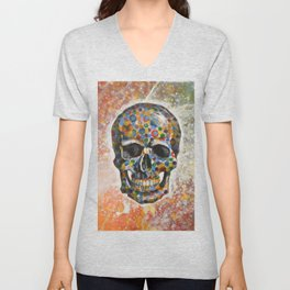Abstract modern art painting ... Skull Unisex V-Neck