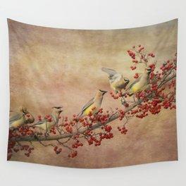 Cedar Waxwings Gathering Wall Tapestry
