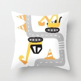 street excavator cartoon  Throw Pillow