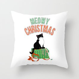 Meowy Christmas Tuxedo Cat Clawed Present xmas gift T-Shirt Throw Pillow