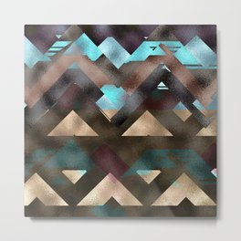 Bronze Brown Blue Burgundy Metal Abstract Mountains Metal Print