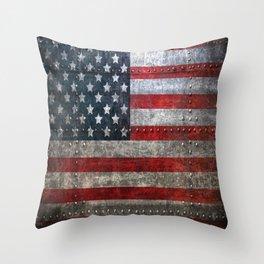 usa  steel flag america Throw Pillow