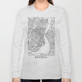 Montreal White Map Long Sleeve T-shirt
