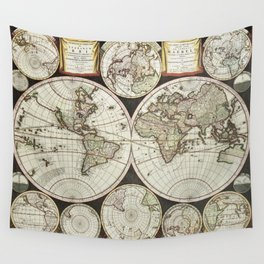 Vintage map of the World 1696 Wall Tapestry