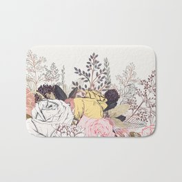 Miles and miles of rose garden. Retro floral pattern in vintag style Bath Mat