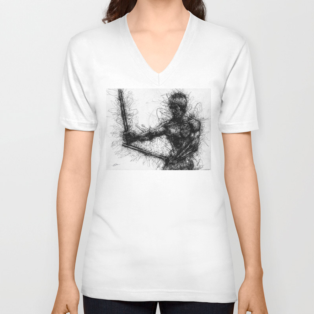 Bruce Kung Fu Master Lee, Drawing, Wall Art, Kung … Unisex V-neck by Juliolucas VNT8502345