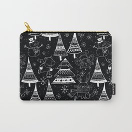 Merry Christmas-Simple X-mas Fun Winter Forest Doodle-Mix and Match with Simplicity of Life Carry-All Pouch