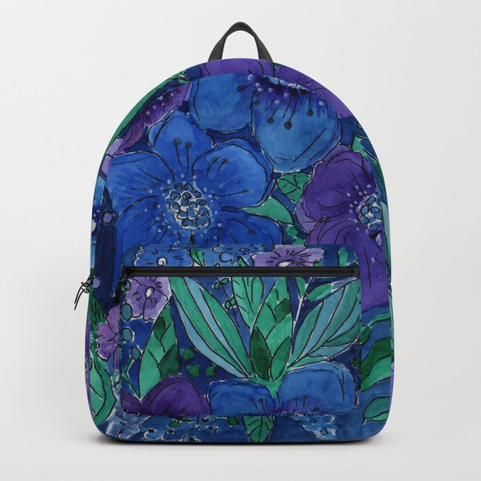 Watercolor . Blue flowers . Backpack
