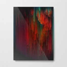 Volcanic Glitches - Abstract Pixel Art Metal Print