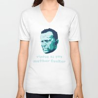 die hard V-neck T-shirts featuring Die Hard Yippee Ki Yay by Ariel Wilson