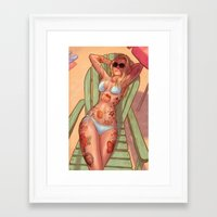 tattoos Framed Art Prints featuring Girl Tattoos by Jacob Sanders