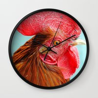 cock Wall Clocks featuring cock by Michael Sofronski