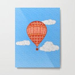Hot Air Balloon, Coral Orange Against a Blue Sky Metal Print