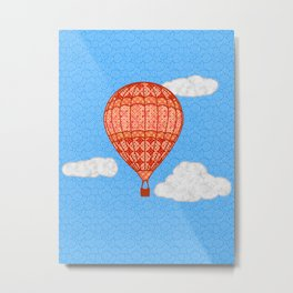 Hot Air Balloon, Coral Orange Against a Blue Sky Metal Print