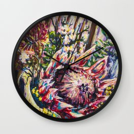We Colourful Flowers Wall Clock