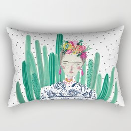 Frida Kahlo. Art, print, illustration, flowers, floral, character, design, famous, people, Rectangular Pillow