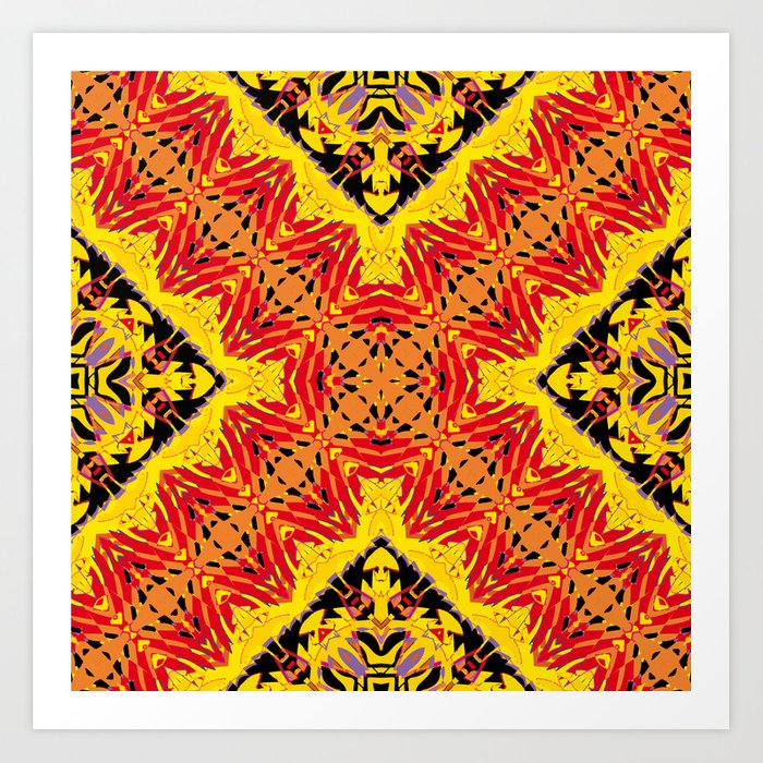ethnic cross red Art Print