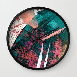 Laughter: a vibrant, colorful, minimal abstract piece in teal, pink, gold, and white Wall Clock