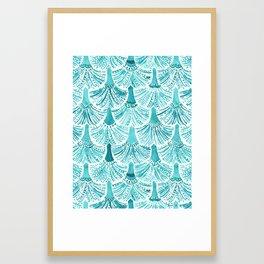 MERMAID TAILS Nautical Scallop Pattern Framed Art Print