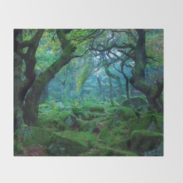 Enchanted forest mood Throw Blanket