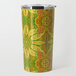 Sun Flower, bohemian floral, yellow, green & orange Travel Mug