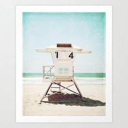Lifeguard Stand, Beach Photography, San Diego California, Blue Aqua Seashore Ocean Summer Art Art Print