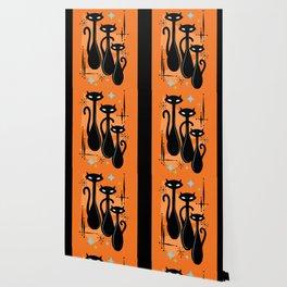 Effervescent Orange Atomic Age Black Kitschy Cat Trio Wallpaper