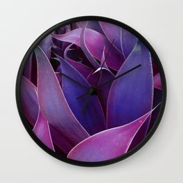 Leaves Abstract Magenta Pink Purple Wall Clock