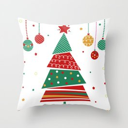 Christmas tree decorated Throw Pillow