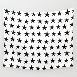 Star Pattern Black On White Wall Tapestry