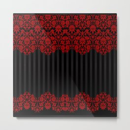 Beautiful Red Damask Lace and Black Stripes Metal Print