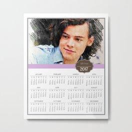 Harry Styles, One Direction, 1D, 1dFanArt, 2017 Calendar, Calendar, 2017 Metal Print