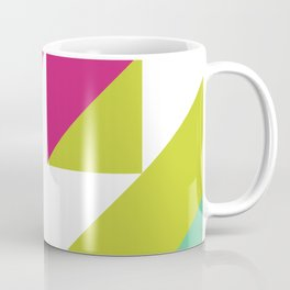 Hot Pink and Neon Chartreuse Color Block Coffee Mug