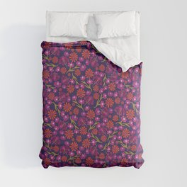 Red, pink, and purple lily and dianthus flowers Comforters
