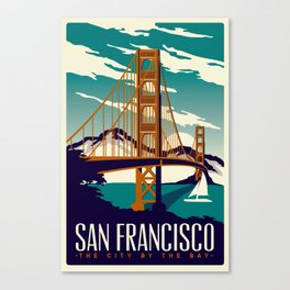 San Francisco Golden Gate Bridge Retro Vintage Canvas Print