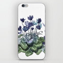 """Spring garden of blue cyclamen and butterflies"" iPhone Skin"
