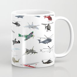 Various Colorful Airplanes and Helicopters Coffee Mug