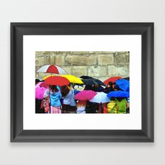Standing in a Pouring Rain Framed Art Print