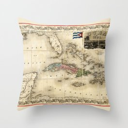 Map of Cuba by J.H. Colton (1851) Throw Pillow