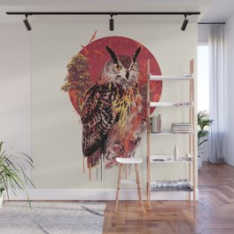 Owl Red Wall Mural
