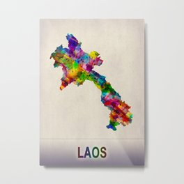 Laos Map in Watercolor Metal Print