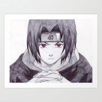 sasuke Art Prints featuring Sasuke Uchiha by DeMoose_Art