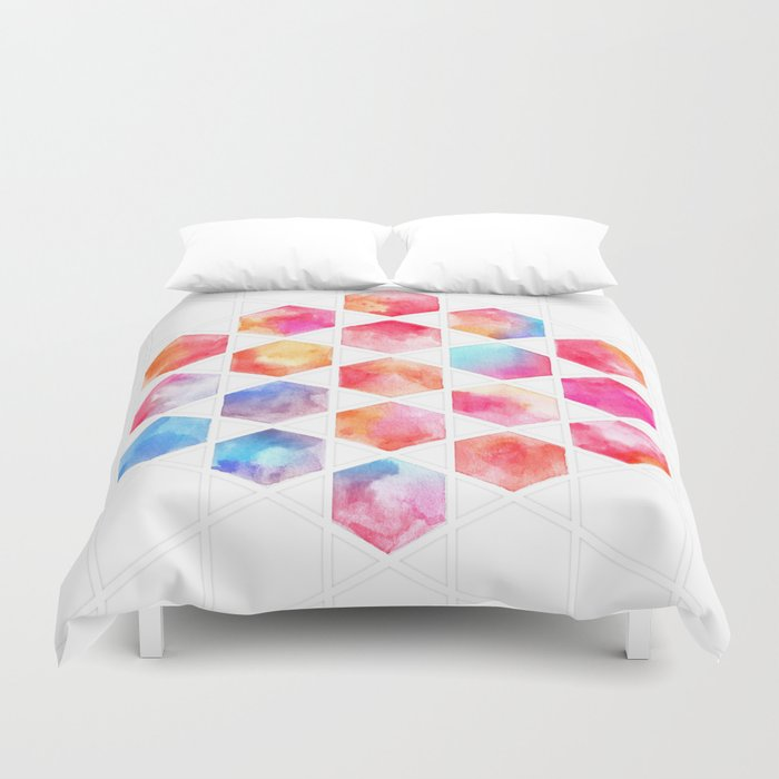 Radiant Hexagons - geometric watercolor painting Duvet Cover