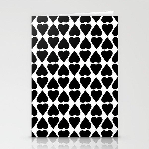Diamond Hearts Repeat Black Stationery Cards