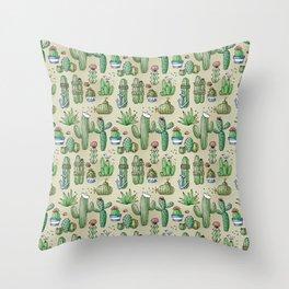 Salty Cacti Throw Pillow