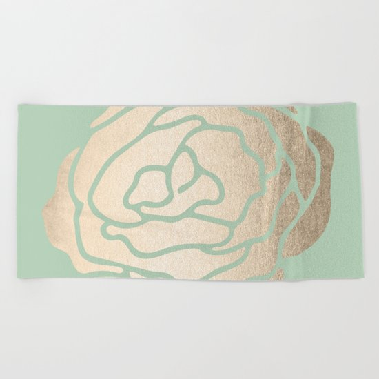 Rose White Gold Sands on Pastel Green Cactus Beach Towel