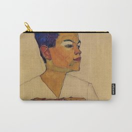 SELF PORTRAIT WITH HANDS ON CHEST - EGON SCHIELE Carry-All Pouch